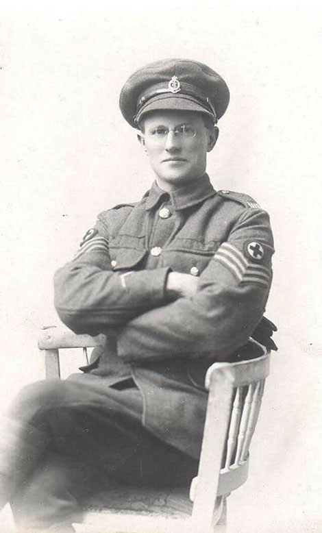 Alfred Quinton Barton (1889-1956).  He and Amy married in November 1920, and their first child was Helen Barton/Kegie.  This photo shows Alfred in his army uniform a few years before Amy's trip.
