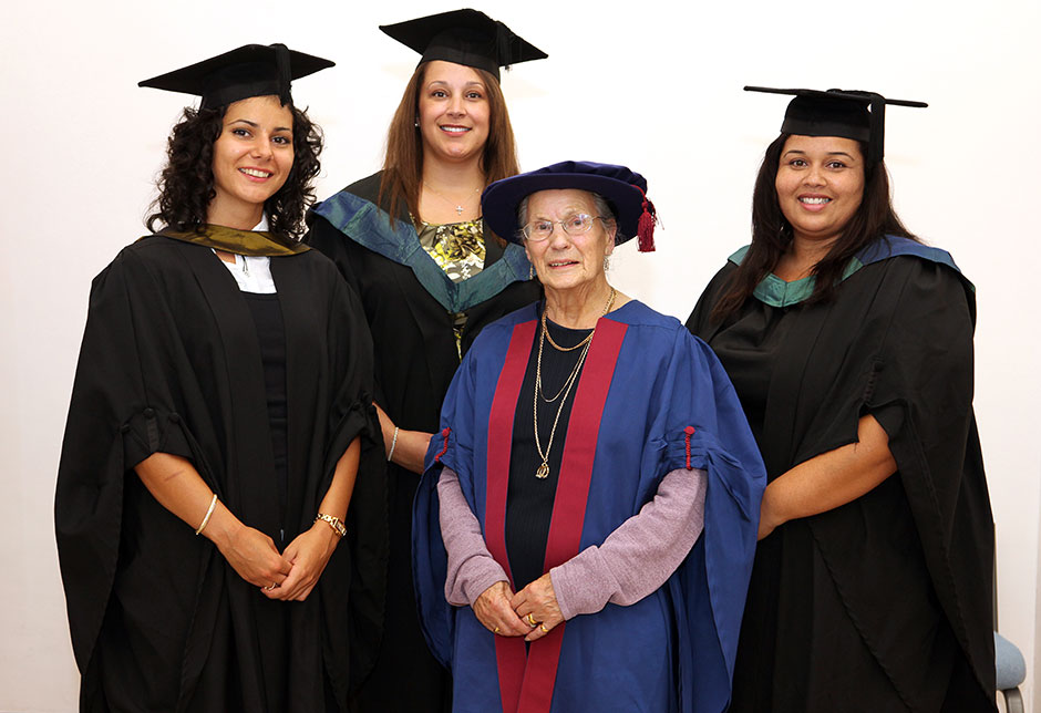 Helen with some of the bursary students when she received the Honorary Fellowship in 2010(Photo by courtesy of the University of South Wales)
