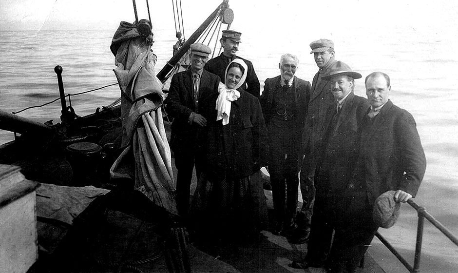 Joseph on a ship with his son-in-law Bernard McMullan, who stands at the back with a hat on.  This was probably the 1912 visit to Seattle.