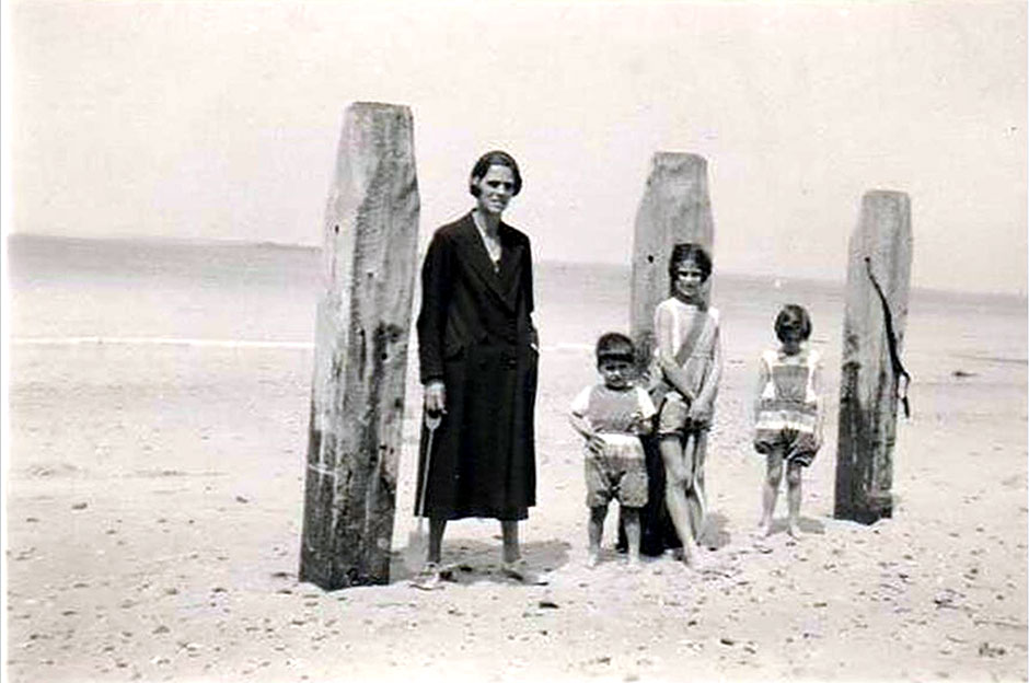 An artistic holiday shot with the children, about 1932.