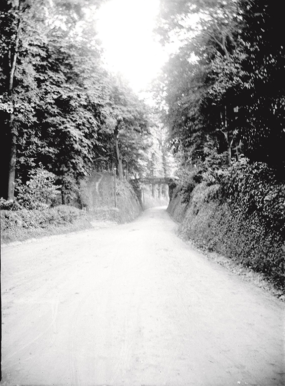 A country lane with bridge in 1913.  Glass plate negative