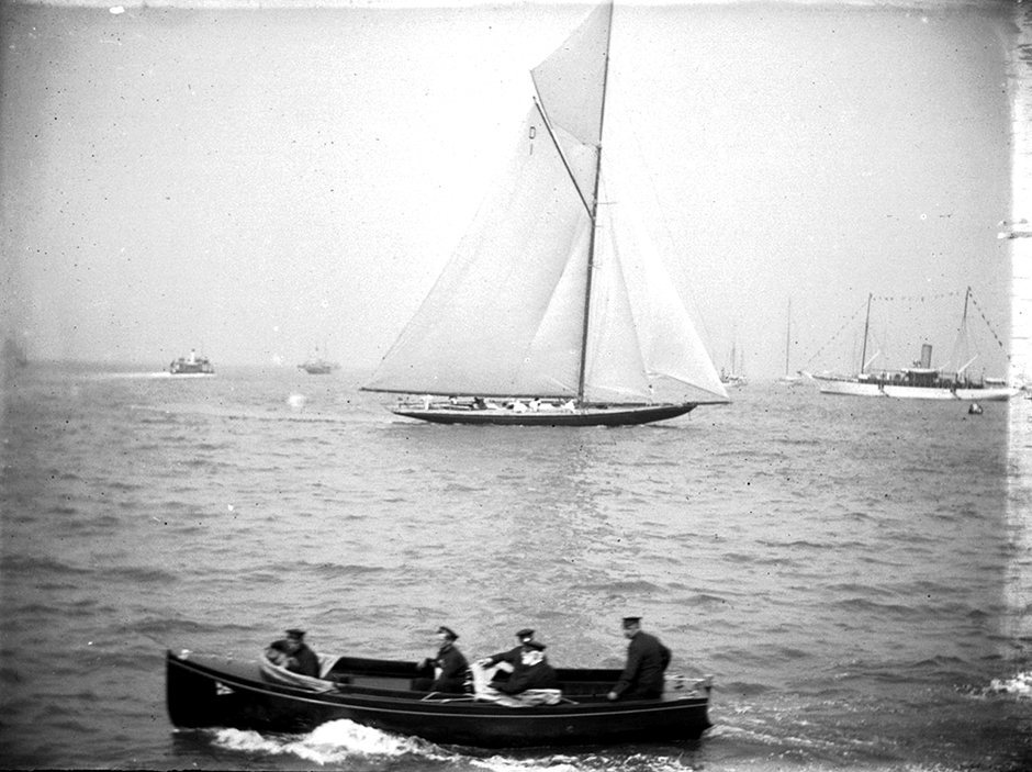 Boats off the Isle of Wight in 1913.  Glass plate negative