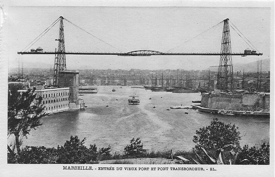The panoramic view of the harbour and the transporter bridge at Marseilles